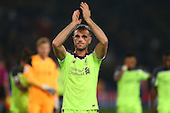 Jordan Henderson, the Liverpool captain applauds the Liverpool away fans after full time. Premier League match, Crystal Palace v Liverpool at Selhurst Park in London on Saturday 29th October 2016.<br /> pic by John Patrick Fletcher, Andrew Orchard sports photography.