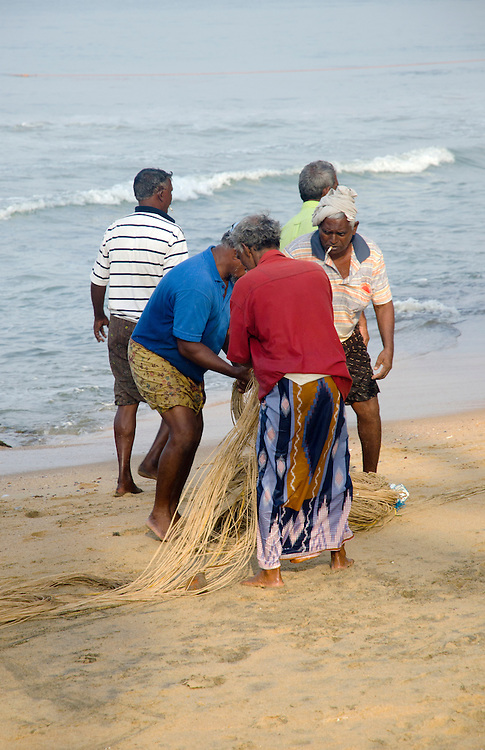 Fishermen on Varkala beach, Kerala, South India