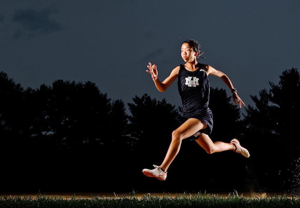 (staff photo by Matt Roth)..Mount Hebron long distance runner Becky Yep won the 3A state title in the 1,600 and the 3,200. She is photographed at Mount Hebron High School Sunday, June 6, 2010.