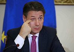 Italy, Caserta -  November 19, 2018.A protocol of understanding on the 'Land of Fires' toxic-waste fire area near Naples (Campania region) signed in Caserta..Premier Giuseppe Conte and deputy Premier Luigi Di Maio attend a press conference. The Interior Minister Matteo Salvini, did not attend   the conference for a dinner at the Quirinale palace.Here Giuseppe Conte. (Credit Image: © Ciro De Luca/Ropi via ZUMA Press)