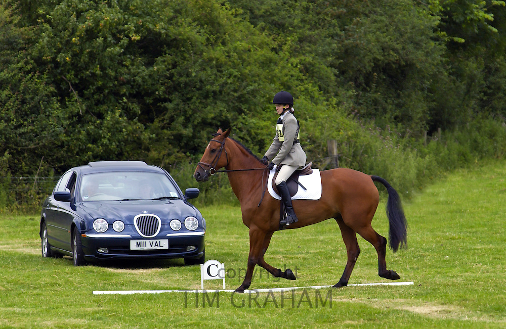 Rider competing in dressage competition at Aston Le Walls in Northamptonshire, UK