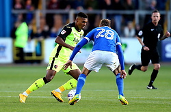 Ollie Watkins of Exeter City takes on Gary Liddle of Carlisle United - Mandatory by-line: Robbie Stephenson/JMP - 14/05/2017 - FOOTBALL - Brunton Park - Carlisle, England - Carlisle United v Exeter City - Sky Bet League Two Play-off Semi-Final 1st Leg