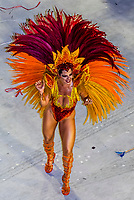 Samba dancer in the Carnaval parade of Grande Rio samba school in the Sambadrome, Rio de Janeiro, Brazil.