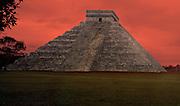 El Castillo at Chichen Itza, Mexico with doomsday sky