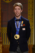 Officiele Huldiging van de Olympische medaillewinnaars Sochi 2014 / Official Ceremony of the Sochi 2014 Olympic medalists.<br /> <br /> Op de foto:  Jorrit Bergsma krigt de onderscheiding van Ridder in de Orde van Oranje-Nassau