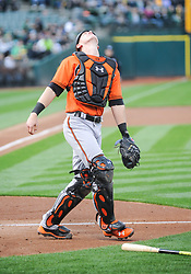 May 5, 2018 - Oakland, CA, U.S. - OAKLAND, CA - MAY 05: Baltimore Orioles catcher Chance Sisco (15) waits underneath the foul pop up during the regular season game between the Oakland Athletics and the Baltimore Orioles on May 5, 2018 at Oakland-Alameda County Coliseum in Oakland,CA (Photo by Samuel Stringer/Icon Sportswire) (Credit Image: © Samuel Stringer/Icon SMI via ZUMA Press)