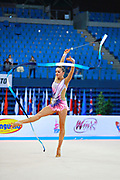 Volkova Ekaterina during qualifying at ribbon in Pesaro World Cup 11 April 2015. Ekaterina was born in Vantaa, Finland, 1997. She is a Finnish individual rhythmic gymnast.