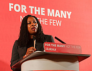 London, United Kingdom - 9 March 2018<br /> Labour Party Shadow Secretary of State for Women and Equalities Dawn Butler introducing Shadow Chancellor John McDonnell who was calling on the government to provide more funding to local councils, children services and domestic violence refuges in a speech at One Great George Street, London, England, UK, Europe.<br /> www.newspics.com/#!/contact<br /> (photo by: EQUINOXFEATURES.COM)<br /> Picture Data:<br /> Photographer: Equinox Features<br /> Copyright: ©2018 Equinox Licensing Ltd. +448700 780000<br /> Contact: Equinox Features<br /> Date Taken: 20180309<br /> Time Taken: 11285036