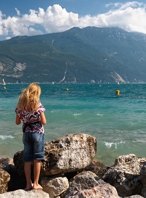 Italy - Riva del Garda - Girl and lake