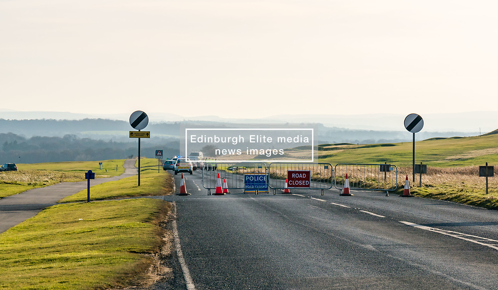 Pictured: Road Crash Gullane. A road crash on the straight section of the A198 Aberlady to Gullane road at around 1.00pm today outside the golf course on West Links Road in Gullane,. It is understood that two cars collided with one of the vehicles catching fire. 15 February 2019  <br /> <br /> Sally Anderson   EdinburghElitemedia.co.uk