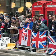 The funeral of former Prime Minister Margaret Thatcher who died Monday April 8. Fans of Thatcher wait outside St Poul's Cathedral