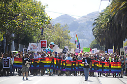 August 26, 2017 - San Francisco, California, U.S - Counter protesters march from Harvey Milk Plaza in the Castro district of San Francisco to show their opposition to far-right demonstrations that had been planned for the weekend but were eventually cancelled. (Credit Image: © Neal Waters via ZUMA Wire)