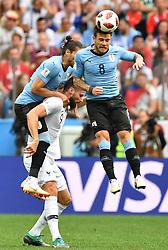 NIZHNY NOVGOROD, July 6, 2018  Nahitan Nandez (R) of Uruguay competes for a header during the 2018 FIFA World Cup quarter-final match between Uruguay and France in Nizhny Novgorod, Russia, July 6, 2018. (Credit Image: © Liu Dawei/Xinhua via ZUMA Wire)