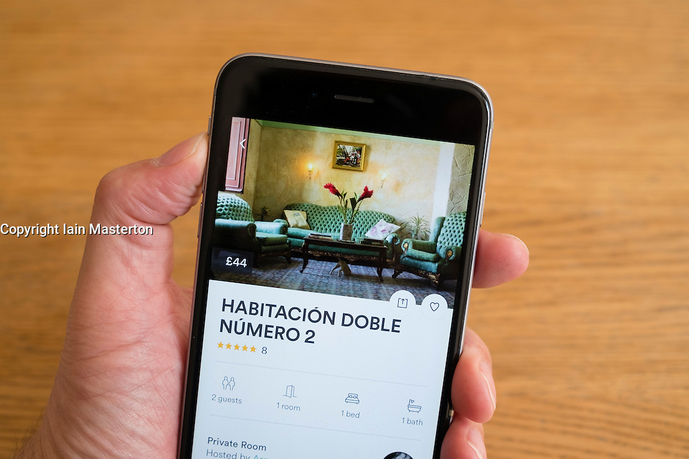 Airbnb app showing house for rent in Havana Cuba