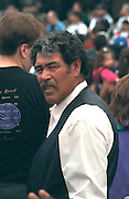 Mexican American man age 55 looking curious at Cinco de Mayo Festival.  St Paul  Minnesota USA