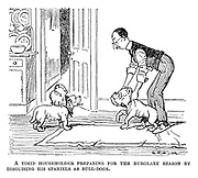 A timid householder preparing for the burglary season by disguising his spaniels as bull-dogs.