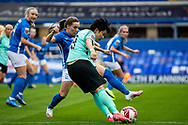 Brighton & Hove Albion forward  Lee Geum-Min (9) crosses ball during the FA Women's Super League match between Birmingham City Women and Brighton and Hove Albion Women at St Andrews, Birmingham United Kingdom on 12 September 2021.