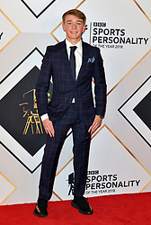 Billy Monger during the red carpet arrivals for the BBC Sports Personality of the Year 2018 at The Vox at Resorts World Birmingham.