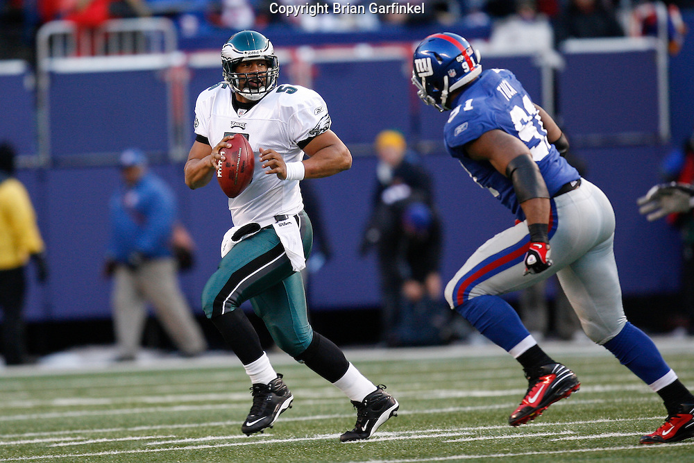 11 Jan 2009: Philadelphia Eagles quarterback Donovan McNabb #5 scrambles during the game against the New York Giants on January 11th, 2009.  The  Eagles won 23-11 at Giants Stadium in East Rutherford, New Jersey.