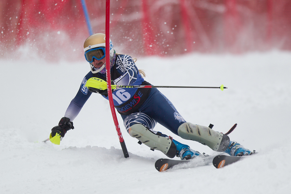 Morgan Klein of the University of New Hampshire, skis during the first run of the women's slalom at Jiminy Peak on February 14, 2014 in Hancock, MA. (Dustin Satloff/EISA)