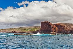 Pu'u Pehe aka Sweetheart Rock, South Lāna'i, Lāna'i aka Pineapple Island because of its past as an island-wide pineapple plantation of Dole, the sixth-largest island of the Hawaiian Islands, Hawaii, USA, Pacific Ocean