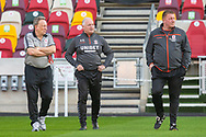 Middlesbrough manager Neil Warnock, Middlesbrough assistant manager Kevin Blackwell, Middlesbrough first team coach Ronnie Jepson, pitch inspection before the EFL Sky Bet Championship match between Brentford and Middlesbrough at Brentford Community Stadium, Brentford, England on 7 November 2020.