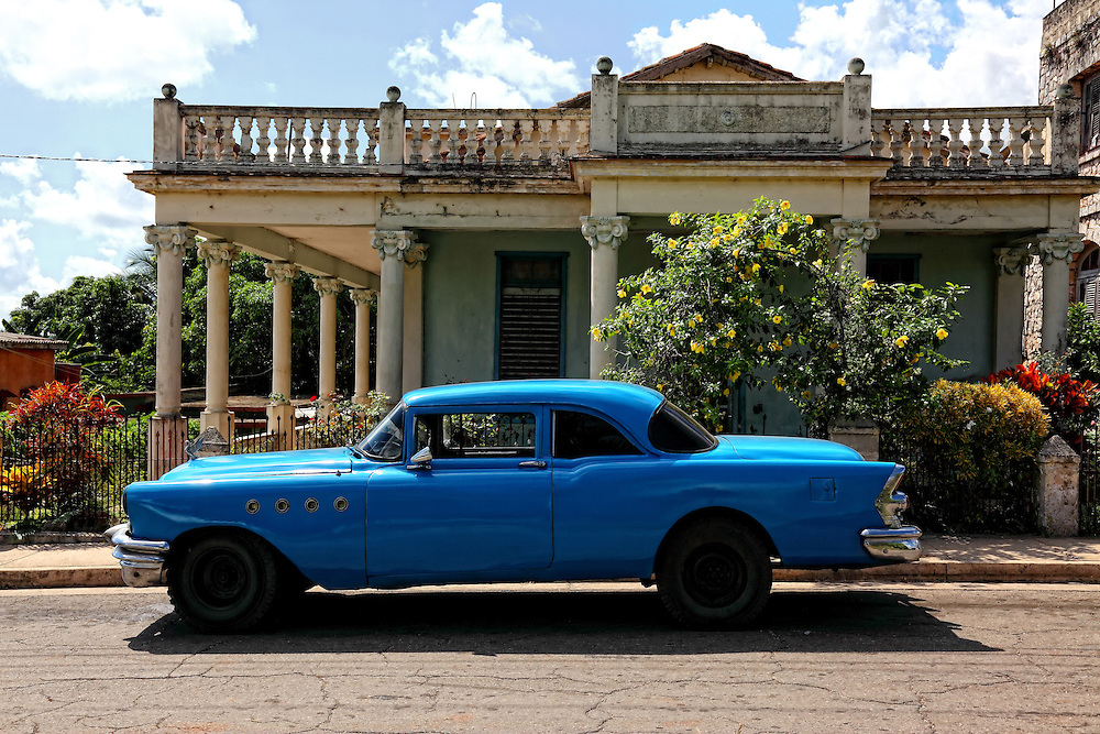 House and old car in San Miguel de los Banos, Matanzas, Cuba.
