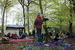 Activists and local residents opposed to HS2 attend a tribute event in Jones Hill Wood to ancient woodland being felled there for the high-speed rail link on 9th May 2021 in Wendover, United Kingdom. The event featured a reading of an adaptation of Roald Dahl's Fantastic Mr Fox, which he is said to have been inspired to write by Jones Hill Wood, as well as poems, speeches, a film screening and face painting.