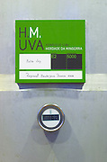 Fermentation tanks. Sign saying Antao Vaz grapes. Thermometer showing 16.2 Centigrade. Henrque HM Uva, Herdade da Mingorra, Alentejo, Portugal