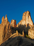 Consolidated volcanic ash of the Leslie Gulch Tuff eroded into fanciful Towers, Leslie Gulch Area of Critical Environmental Concern, Oregon.