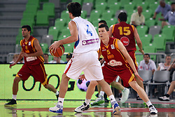 Milos Teodosic of Serbia and Vlado Illievski of Macedonia at friendly match between Serbia and Macedonia for Adecco Cup 2011 as part of exhibition games before European Championship Lithuania on August 7, 2011, in SRC Stozice, Ljubljana, Slovenia. (Photo by Urban Urbanc / Sportida)