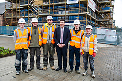Pictured: Jamie Hepburn met up with some of Roberston's apprentices<br /> Minister for Employability and Training Jamie Hepburn  responded to the latest Labour market statistics when he visited Robertson Partnership Homes in Edinburgh today and met some of their construction workers<br /> <br /> <br /> Ger Harley | EEm 15 November 2017