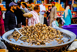 Snails cooking at a food stall in the Jemaa El Fna, Marrakech, Morocco<br /> <br /> (c) Andrew Wilson | Edinburgh Elite media