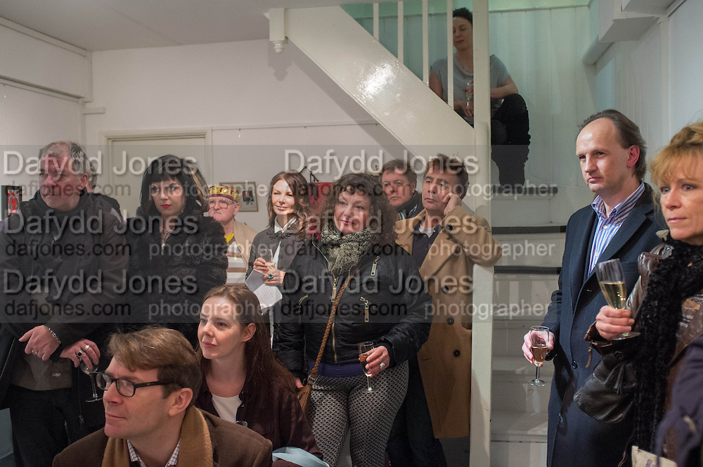 AUDIENCE INCLUDING ROBIN SEBASTIAN; KEVIN CUMMINS; SARAH TREGONING; GLENN MATLOCK; NATALIE GALUSTIAN, LISTENING TO ANNE PIGALLE SINGING, Anne Pigalle exhibition; Is There life after sex?- Natalie Galustian rare books, 22 Cecil Court, London WC2N 4HE. 31 January 2013