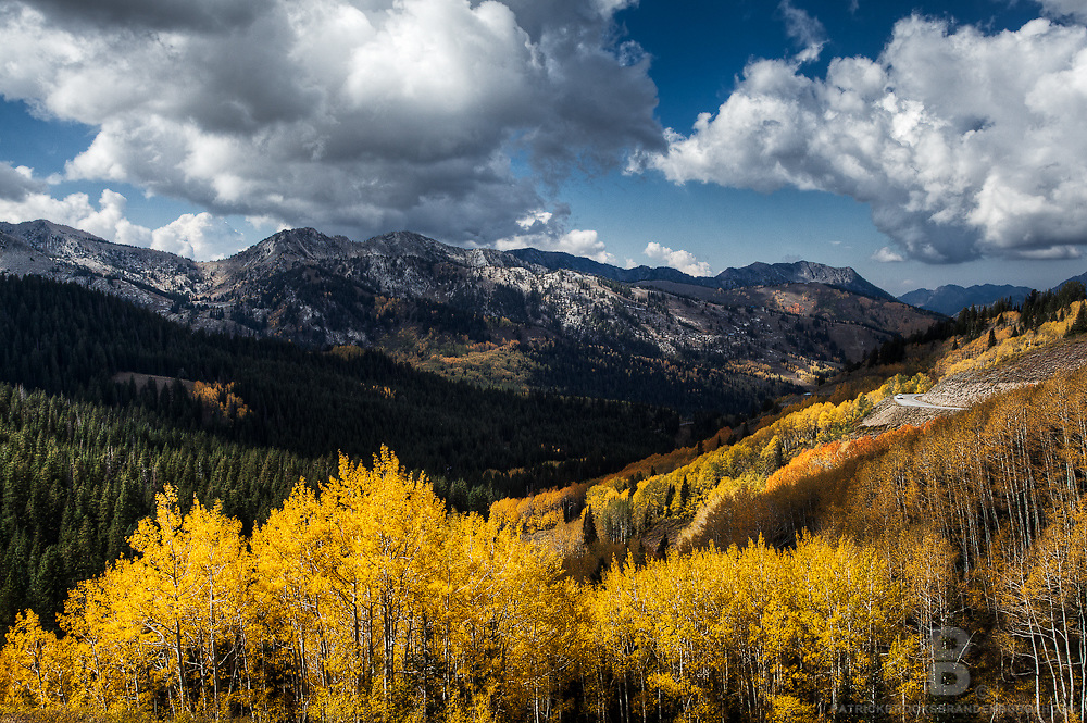 An overlook of the Brighton Ski Resort during fall in the Wasatch Mountain Range in Utah.