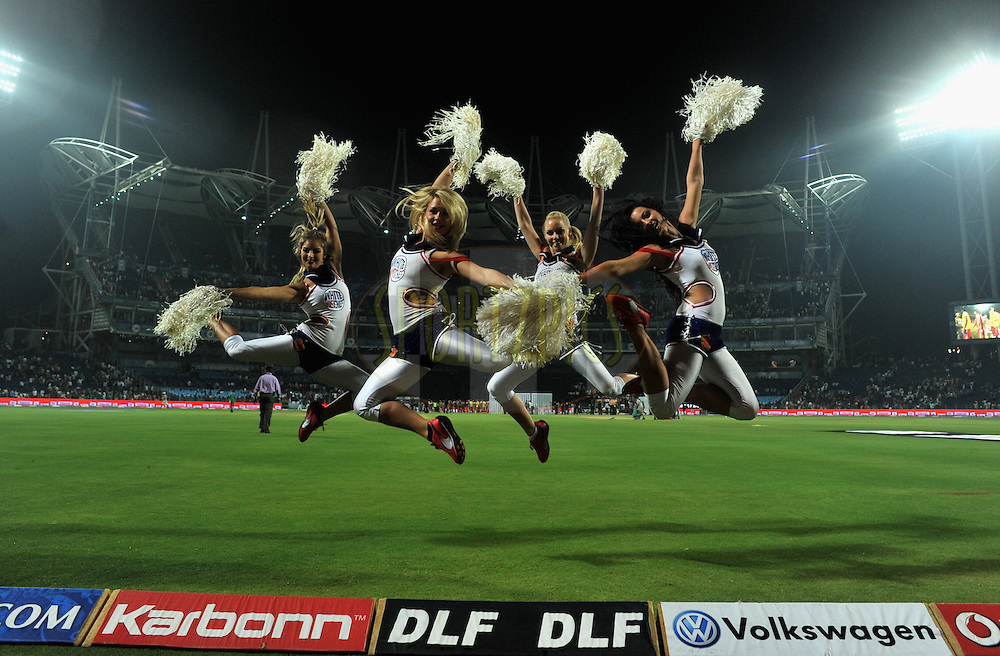 Cheerleaders  during match 57 of the Indian Premier League ( IPL) 2012  between The Pune Warriors India and the Royal Challengers Bangalore held at the Subrata Roy Sahara Stadium, Pune on the 11th May 2012..Photo by Pal Pillai/IPL/SPORTZPICS