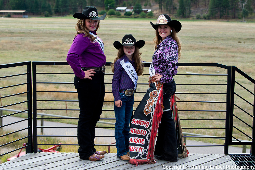 Darby rodeo Queen, Darby rodeop Princess and Darby Lil Miss at the Darby Broncs N Bulls event Sept 7th 2019.  Photo by Josh Homer/Burning Ember Photography.  Photo credit must be given on all uses.