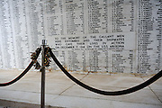 Wall displaying the names of all who died on the USS Arizona during the bombing of Pearl Harbour, and all survivors who have since died. USS Arizona Memorial Museum, Pearl Harbour, Hawai. RIGHTS MANAGED LICENSE AVAILABLE FROM www.PhotoLibrary.com