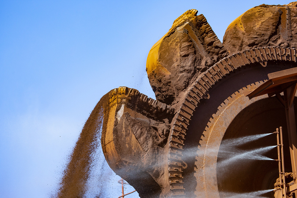 An Iron Ore reclaimer at work in the Pilbara region of Western Australia.