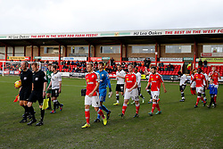 Bristol City and Crewe Alexandra are led out by referee A. Haines before the match - Photo mandatory by-line: Rogan Thomson/JMP - 07966 386802 - 20/12/2014 - SPORT - FOOTBALL - Crewe, England - Alexandra Stadium - Crewe Alexandra v Bristol City - Sky Bet League 1.