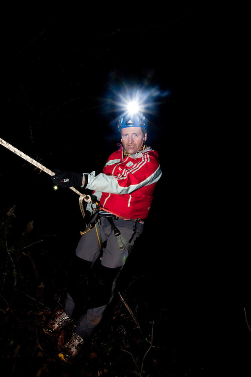 Richard Maddon abseiling at night while Training with AdidasTERREX on the Wenger Patagonia Expedition Race media day. 11/01/2011.Copyrighted work - Permission must be sought before use of this image..Alex Ekins +44 (0)7901 882994.