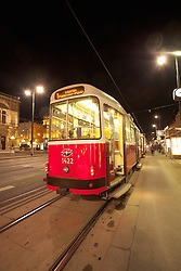 Tram night city Vienna Austria red streetcar