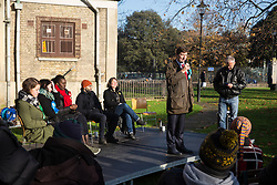 London, UK. 30 November, 2019. Jeremy Christopher Catterall Maddocks, Brexit Party candidate for Mitcham and Morden, speaks at a general election hustings for the Vauxhall constituency outside St Mark's church. Topics discussed included the lack of social housing provision, knife crime, the suitability of the candidates to be Prime Minister and airport expansion.