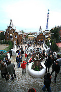 The entrence gate to Parque Guell, the garden complex built by the Catalan architect Antoni Gaudi.