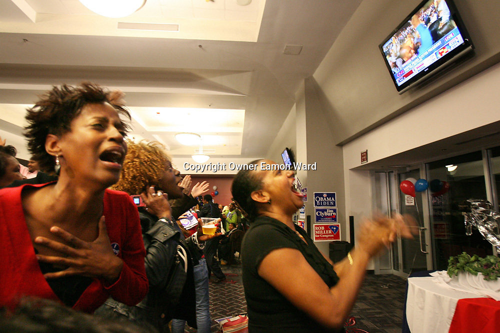 Emotions overflow as Barack Obama is deemed elected ,Democratic Party Celebrations at Williams-Brice Stadium,Columbia,South Carolina ,USA...Photograph by Eamon Ward