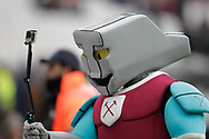 West Ham mascot Hammerhead takes a selfie before The FA Cup 3rd round match between West Ham United and Birmingham City at the London Stadium, London, England on 5 January 2019.