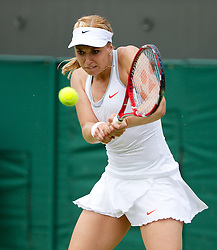 27.06.2013, Wimbledon, London, ENG, WTA Tour, The Championships Wimbledon, Tag 4, im Bild Sabine Lisicki (GER) during the Ladies' Singles 2nd Round match on day four of the WTA Tour Wimbledon Lawn Tennis Championships at the All England Lawn Tennis and Croquet Club, London, Great Britain on 2013/06/27. EXPA Pictures © 2013, PhotoCredit: EXPA/ Propagandaphoto/ David Rawcliffe<br /> <br /> ***** ATTENTION - OUT OF ENG, GBR, UK *****