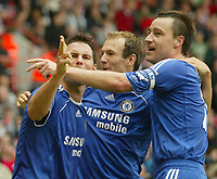 Photo: Aidan Ellis.<br /> Sheffield United v Chelsea. The Barclays Premiership. 28/10/2006.<br /> Frank Lampard clebrates his goal with Arjen Robben and John Terry