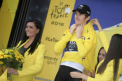 July 28, 2018 - Espelette, FRANCE - British Geraint Thomas of Team Sky celebrates on the podium in the yellow jersey of leader in the overall ranking after the 20th stage of the 105th edition of the Tour de France cycling race, a 31km individual time trial from Saint-Pee-sur-Nivelle to Espelette, France, Saturday 28 July 2018. This year's Tour de France takes place from July 7th to July 29th. BELGA PHOTO YORICK JANSENS (Credit Image: © Yorick Jansens/Belga via ZUMA Press)