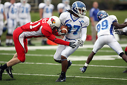 13 October 2007: Kurt James gets an open shot at ball carrier Jerimy Robinson. The Indiana State Sycamores were jacked 69-17 by the Illinois State Redbirds at Hancock Stadium on the campus of Illinois State University in Normal Illinois.